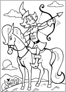 Лук и стрелы картинки раскраски (1)