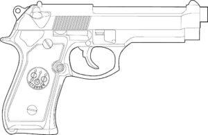 Пистолет картинки раскраски (11)