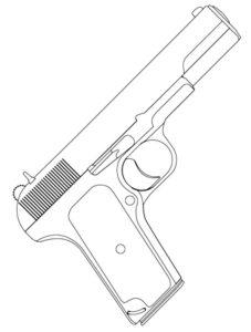 Пистолет картинки раскраски (19)