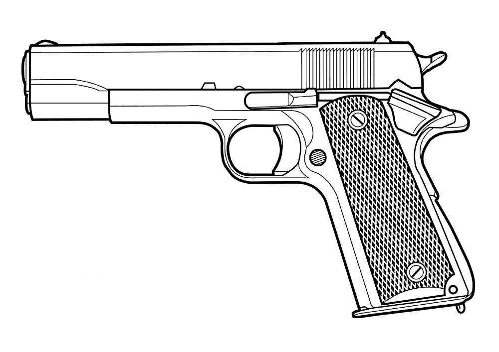 Картинки пистолетов нарисовать