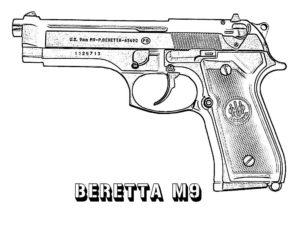 Пистолет картинки раскраски (30)