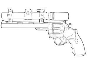 Пистолет картинки раскраски (37)