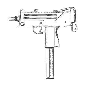 Пистолет картинки раскраски (4)