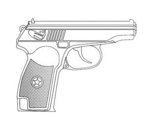 Пистолет картинки раскраски (6)
