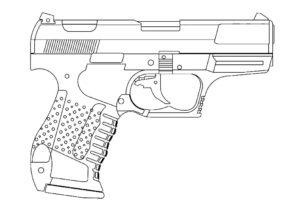 Пистолет картинки раскраски (8)