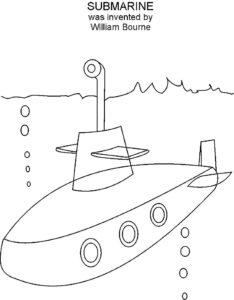 Подводная лодка картинки раскраски (10)