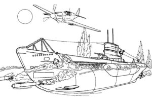 Подводная лодка картинки раскраски (12)