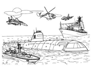 Подводная лодка картинки раскраски (24)