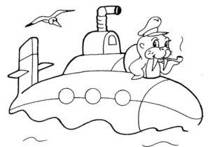 Подводная лодка картинки раскраски (25)