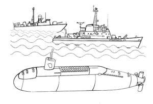 Подводная лодка картинки раскраски (36)