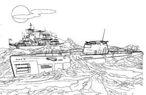 Подводная лодка картинки раскраски (38)
