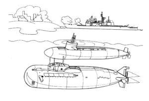 Подводная лодка картинки раскраски (39)