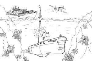 Подводная лодка картинки раскраски (41)