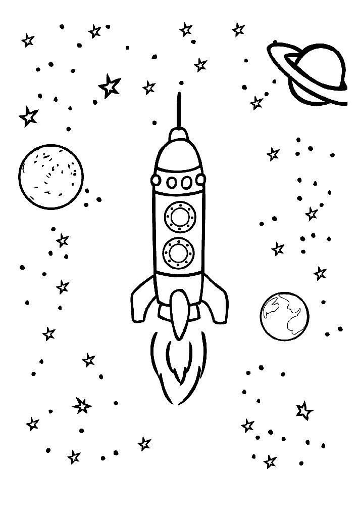 Ракета картинки раскраски (1)