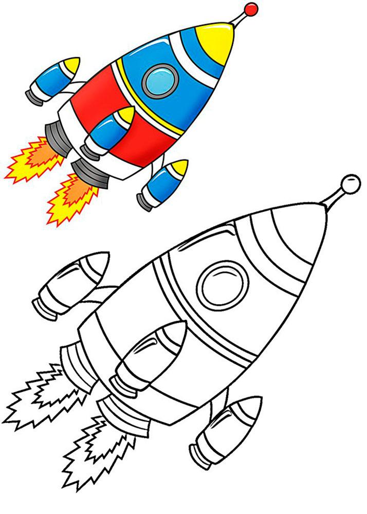 Ракета картинки раскраски (44)