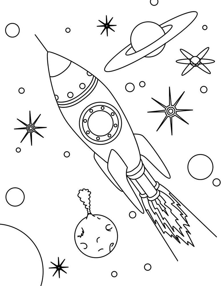 Ракета картинки раскраски (46)