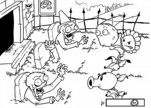 Растения против зомби картинки раскраски (23)