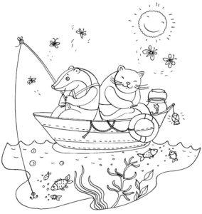 Рыбалка картинки раскраски (30)