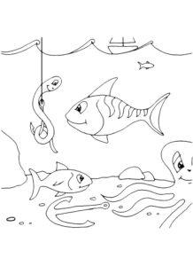 Рыбалка картинки раскраски (31)
