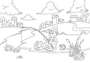 Рыбалка картинки раскраски (39)