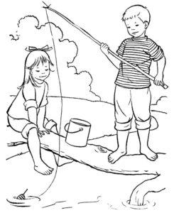 Рыбалка картинки раскраски (4)