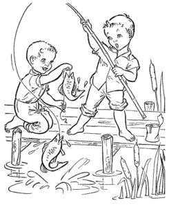 Рыбалка картинки раскраски (5)