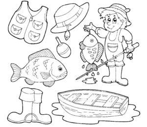 Рыбалка картинки раскраски (53)