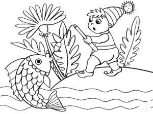 Рыбалка картинки раскраски (72)