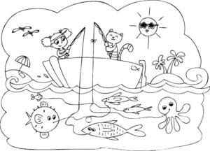 Рыбалка картинки раскраски (79)