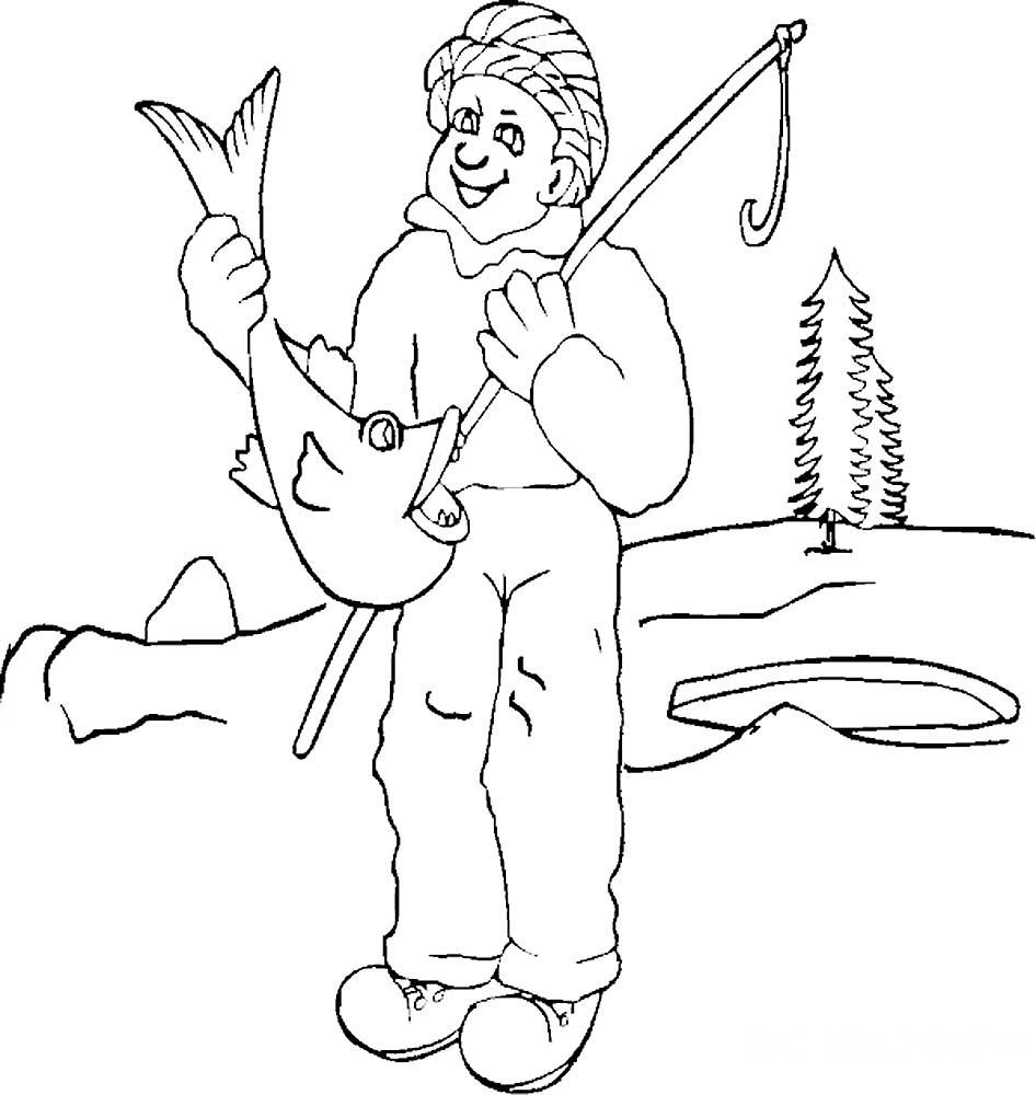 картинки для раскраски рыбалка этого сперва