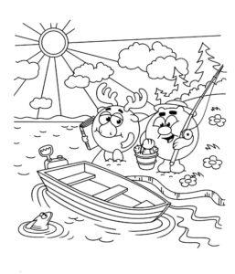 Рыбалка картинки раскраски (91)