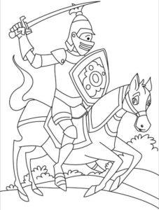 Рыцари картинки раскраски (2)