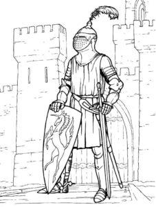 Рыцари картинки раскраски (20)