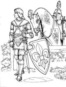 Рыцари картинки раскраски (26)