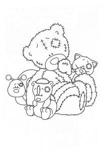 мишки тедди картинки раскраски крупные (10)