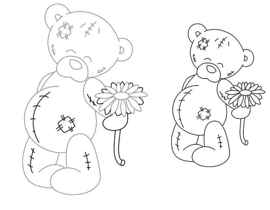 мишки тедди картинки раскраски крупные (4)