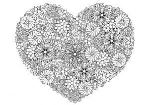 сердечки картинки раскраски крупные (111)