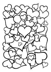 сердечки картинки раскраски крупные (50)
