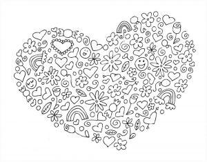 сердечки картинки раскраски крупные (98)