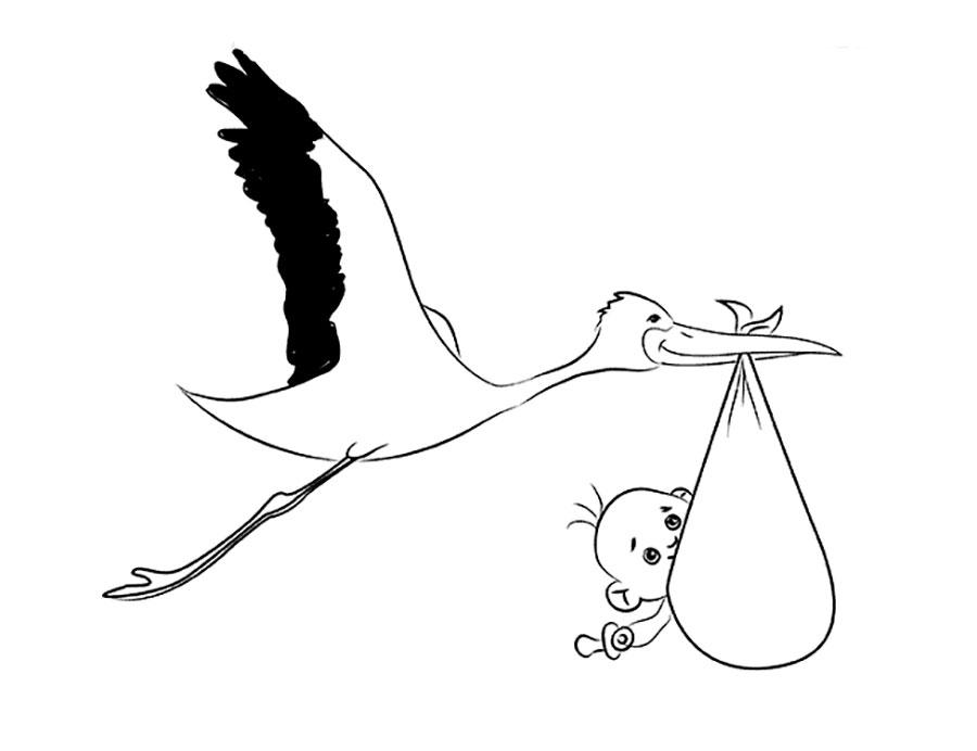 картинка аиста трафарет ребёнка