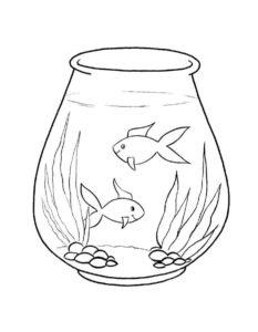 Аквариум с рыбками картинки раскраски (4)