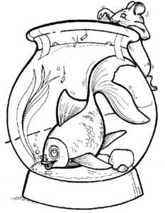 Аквариум с рыбками картинки раскраски (6)