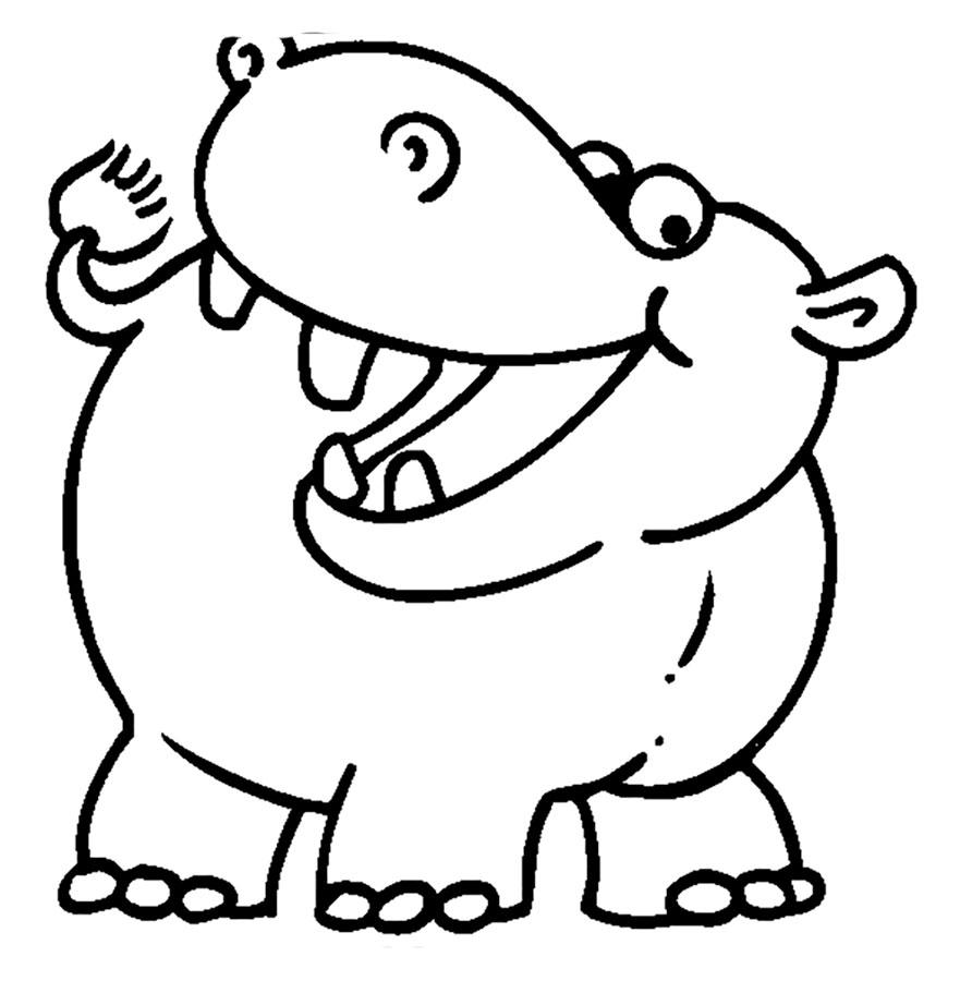 Картинка для раскрашивания бегемотик