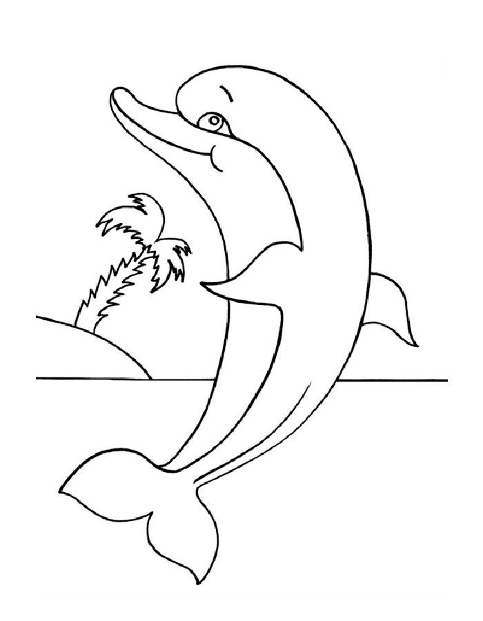 Листьев, картинки дельфины раскраска