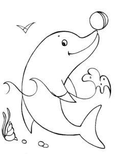 Дельфин картинки раскраски (9)