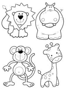 Дикие животные картинки раскраски (42)