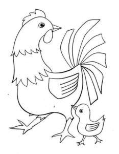 Курица картинки раскраски (1)