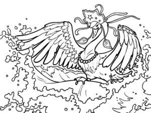 Лебедь картинки раскраски (1)