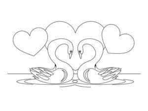 Лебедь картинки раскраски (12)