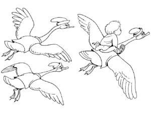 Лебедь картинки раскраски (28)